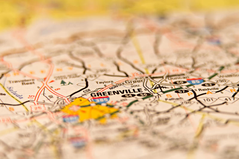 Greenville South Carolina USA områdesöversikt royaltyfri bild