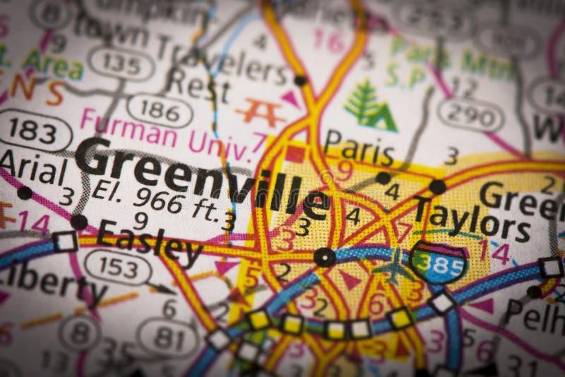 Greenville, Zuid-Carolina op kaart stock afbeeldingen
