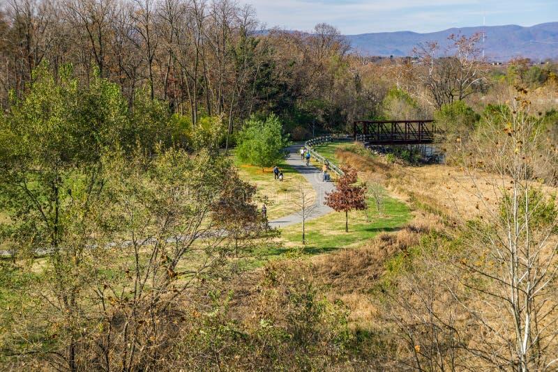 Greenway реки Roanoke стоковые фотографии rf
