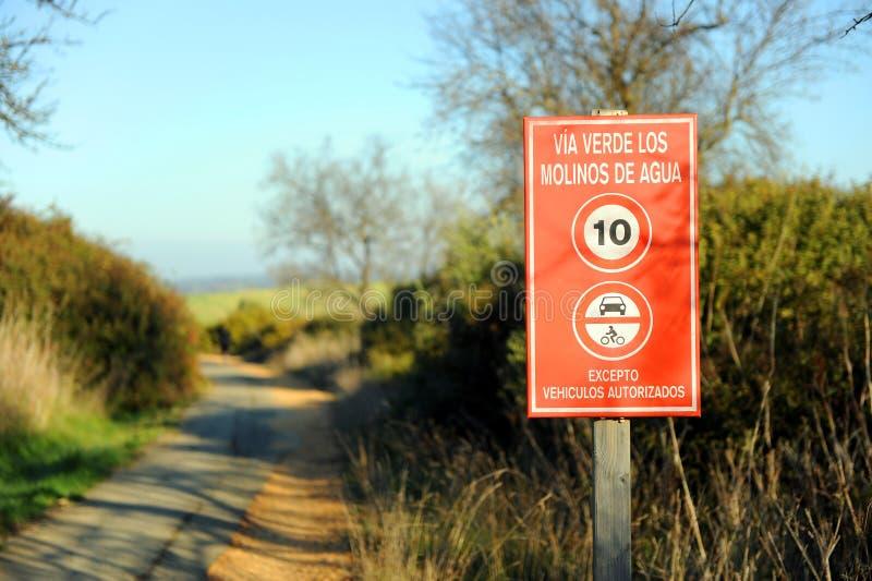 The greenway Los Molinos del Agua in Valverde del Camino, province of Huelva, Spain. Path over the greenway of 36.6 km from San Juan del Puerto to Valverde del royalty free stock image