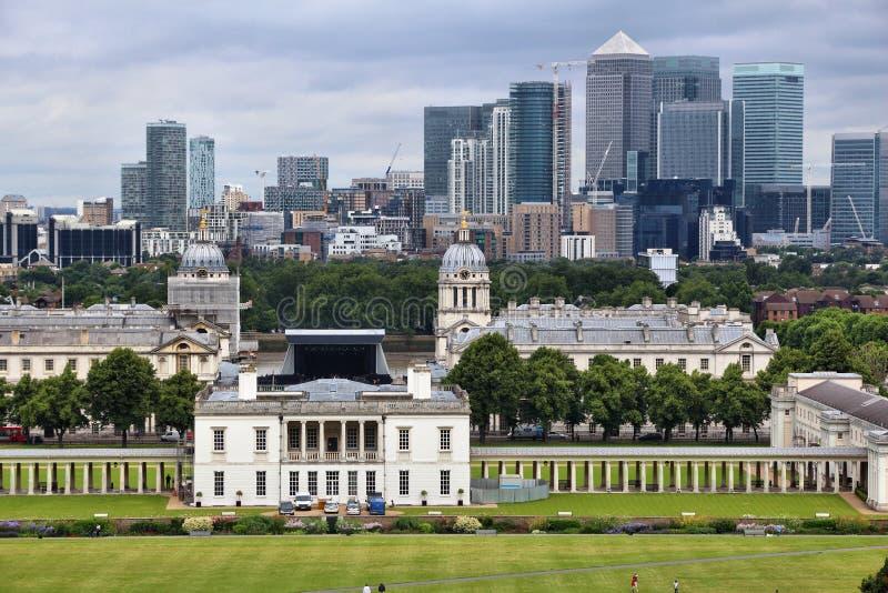 Greenwich et quai jaune canari photographie stock