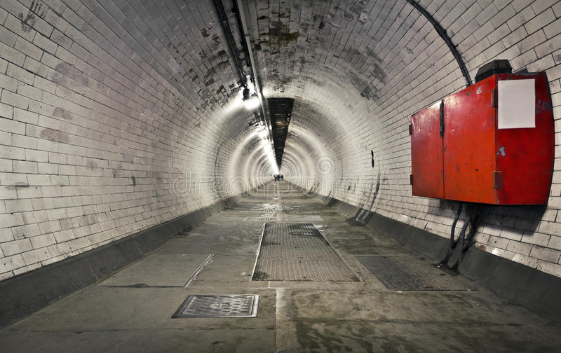 Greenwich Foot Tunnel. A long foot tunnel under the river Thames to Canary Wharf from Greenwich, London stock image