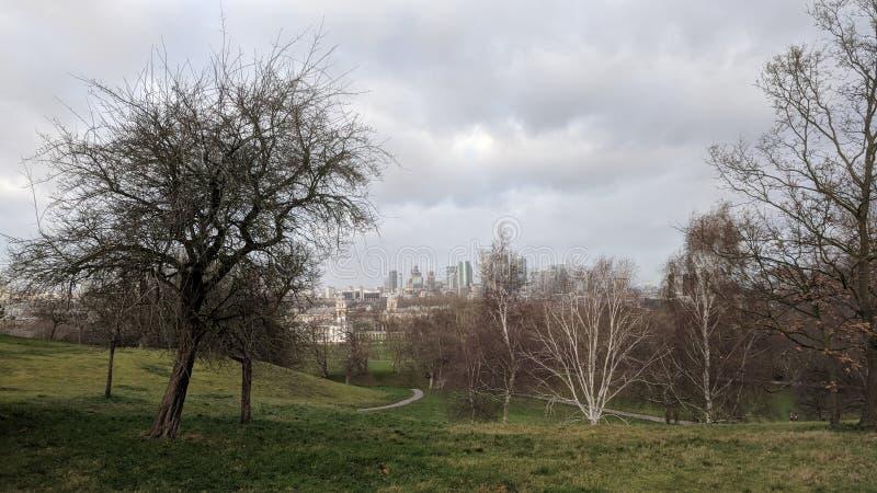 Greenwich-Park in London während des Winters lizenzfreies stockbild
