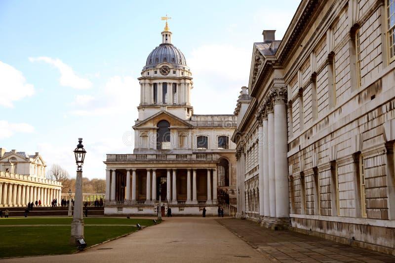 Greenwich parkerar, det kungliga marinkapellet och högskolan royaltyfri foto