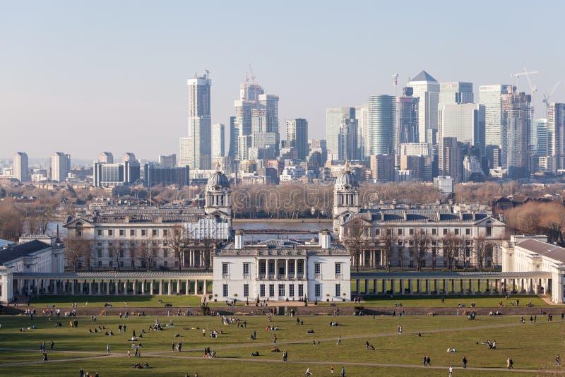 Greenwich y Canary Wharf, Londres imagen de archivo libre de regalías