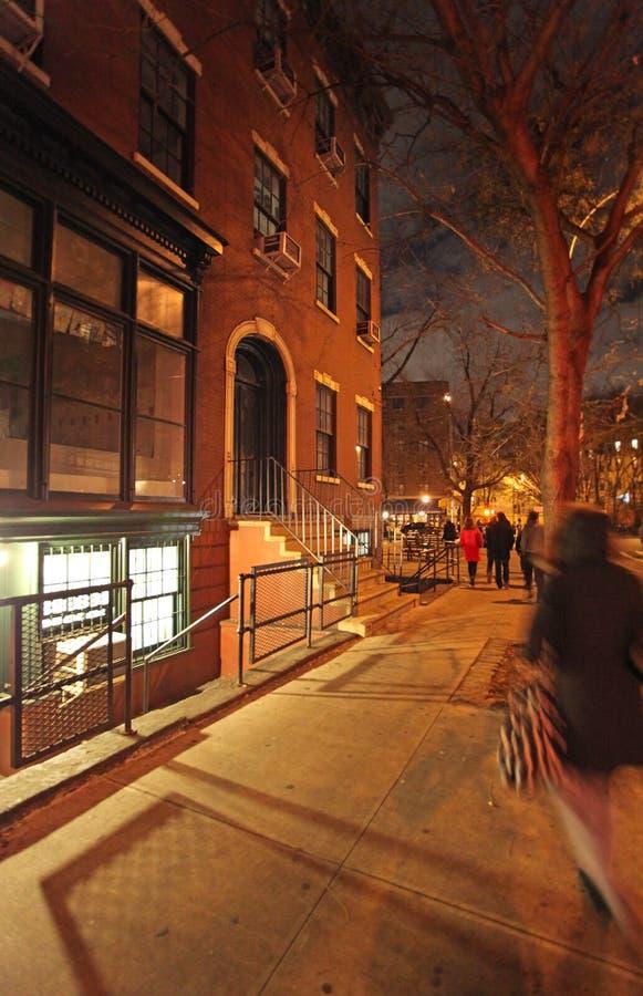 Greenwicha Village dom miejski nocą, NY, usa zdjęcie royalty free