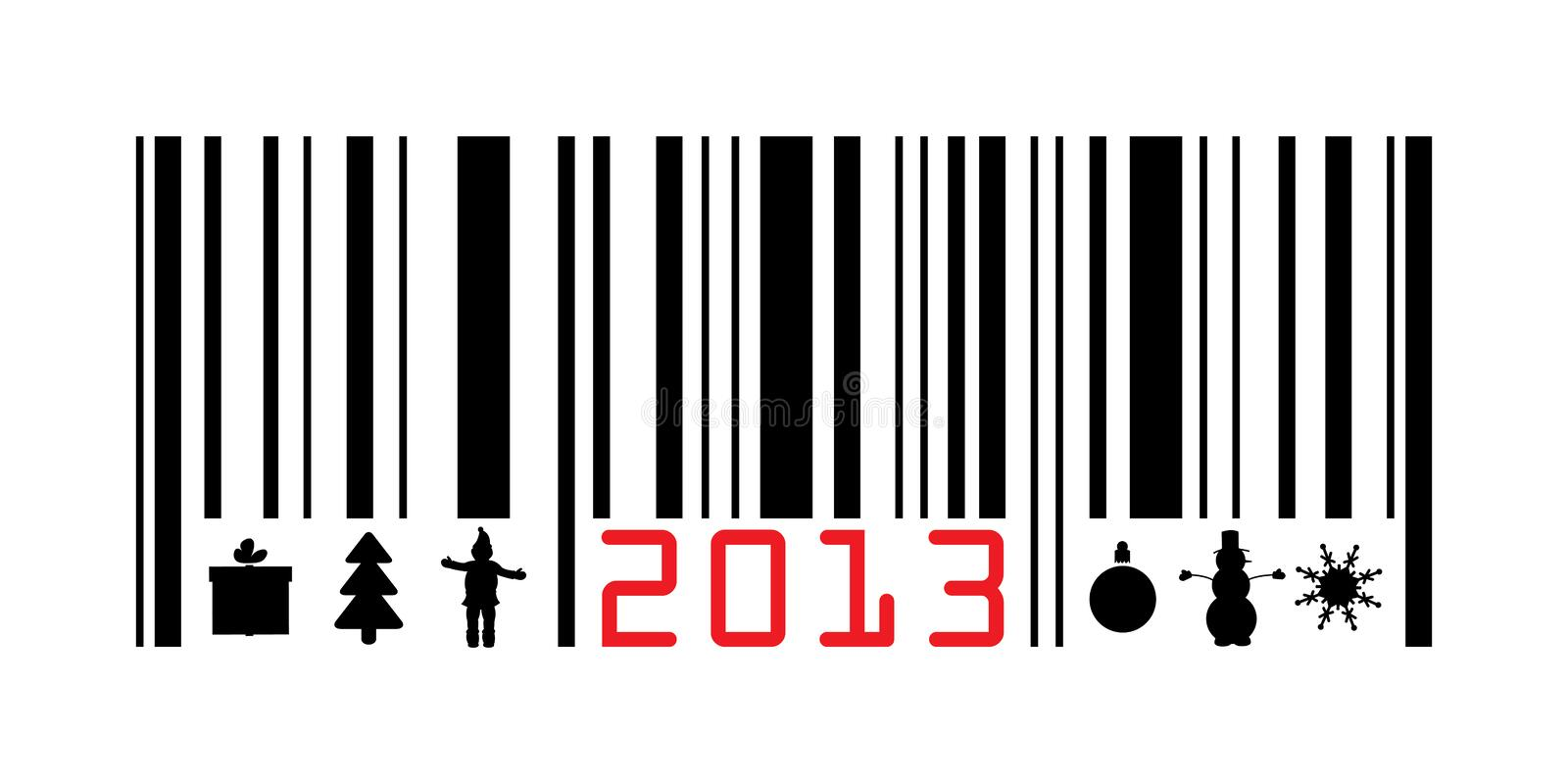 Greeting with 2013 year barcode royalty free illustration