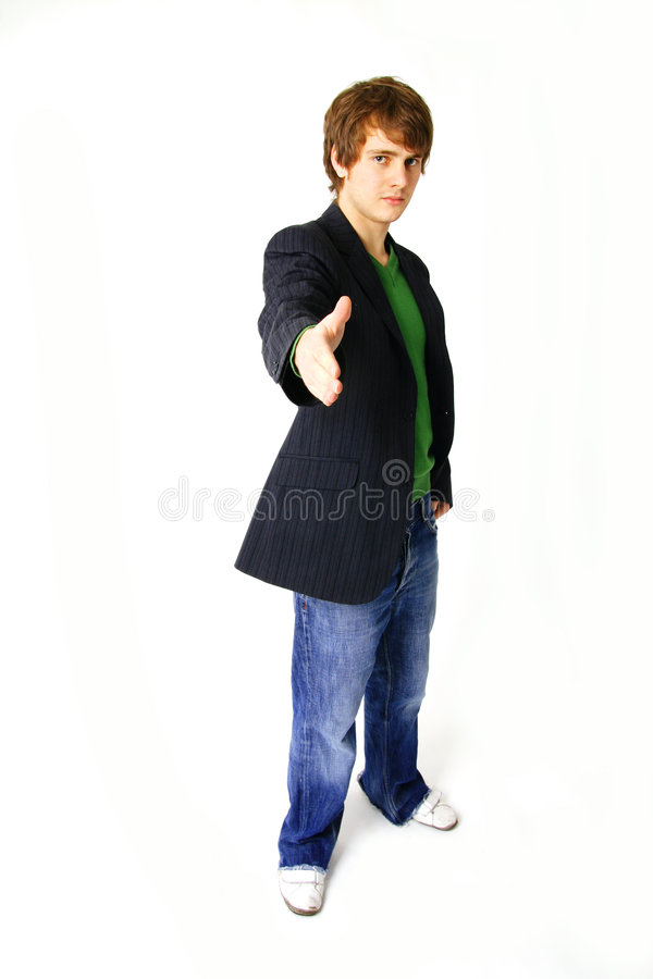 Greeting. Businessman or young student in suit offering handshake. greeting person isolated on white stock photography