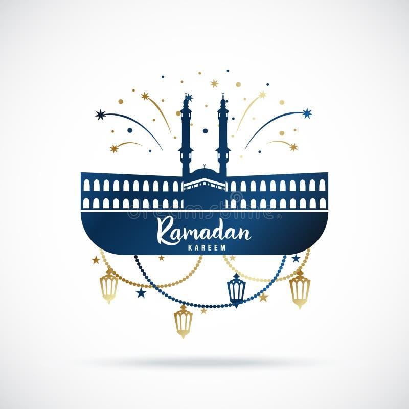 Greeting banner for islamic holy holiday Ramadan Kareem. stock illustration