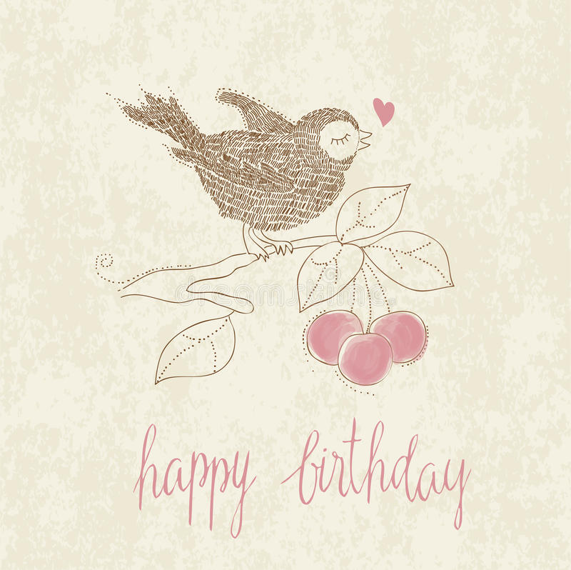 Download Greeting Birthday Card With Cute Bird Royalty Free Stock Images - Image: 21933019