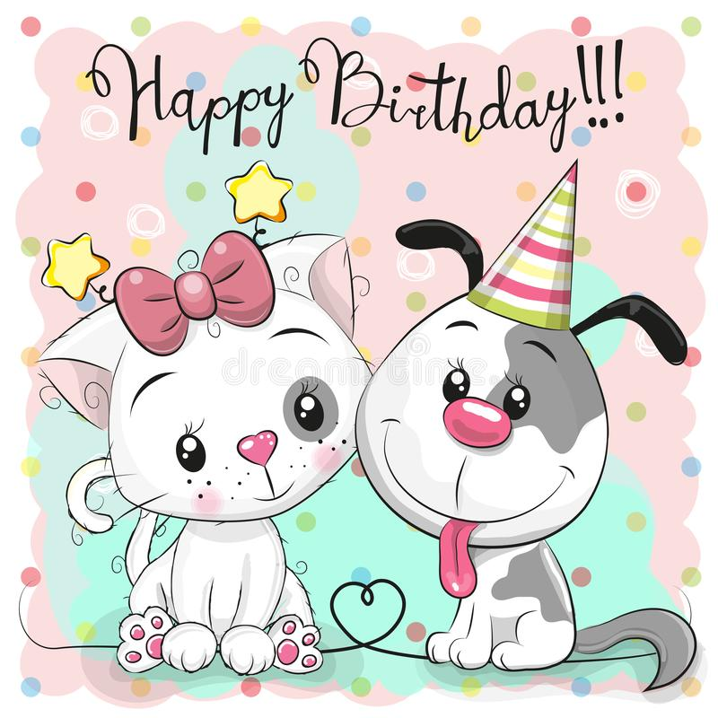 Greeting Birthday card with cute cat and dog stock illustration