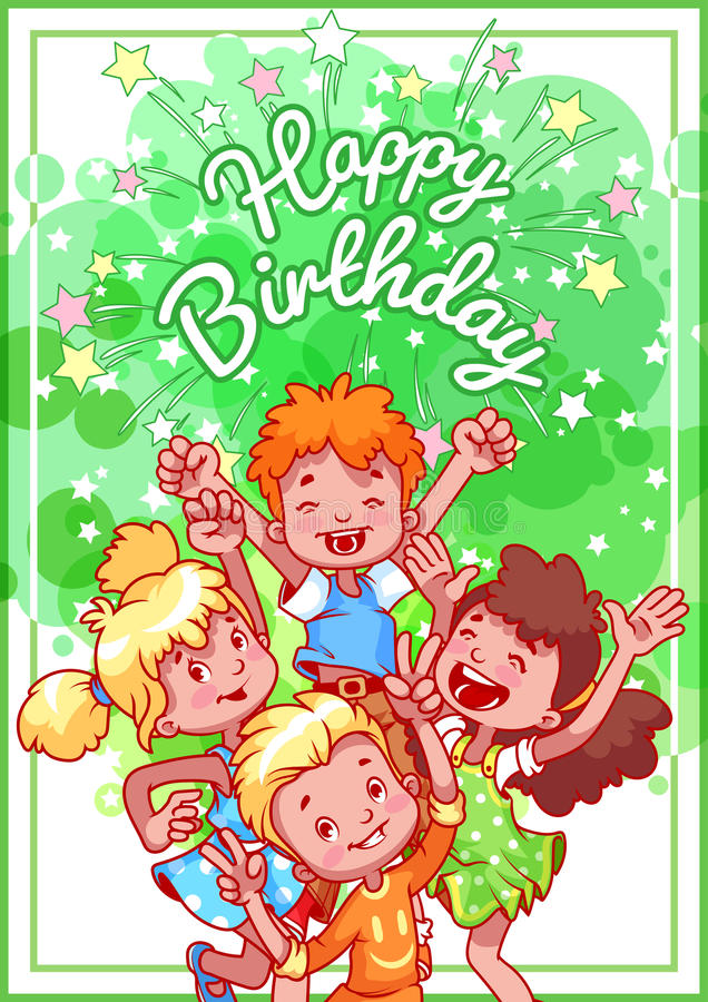 Greeting birthday card with a happy kids. stock illustration