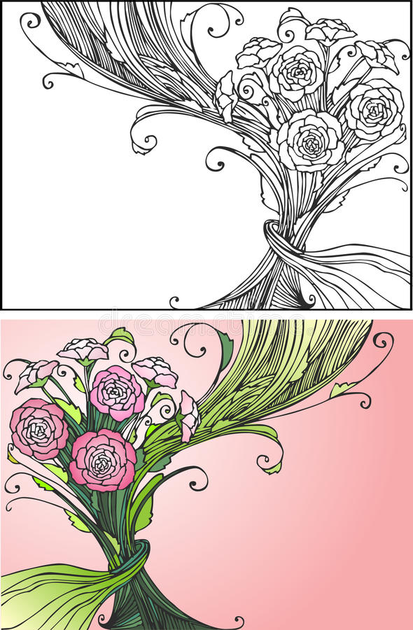 Greeting card. Two greeting card: black and white and colored stock illustration