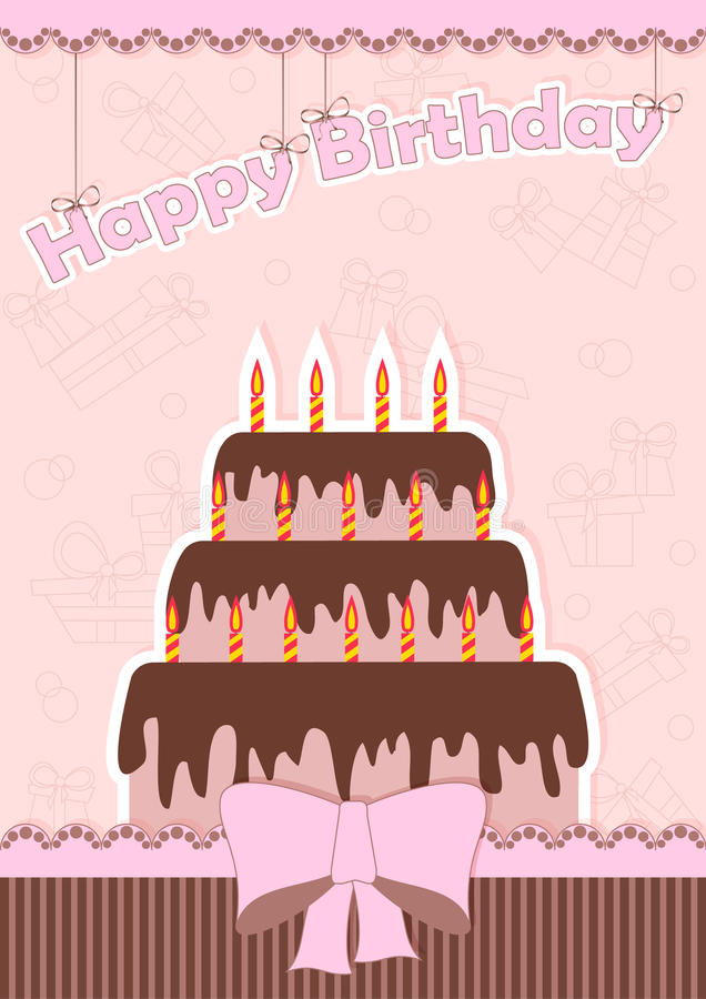 Greeting card. For birthday with chocolate cake and a bow vector illustration