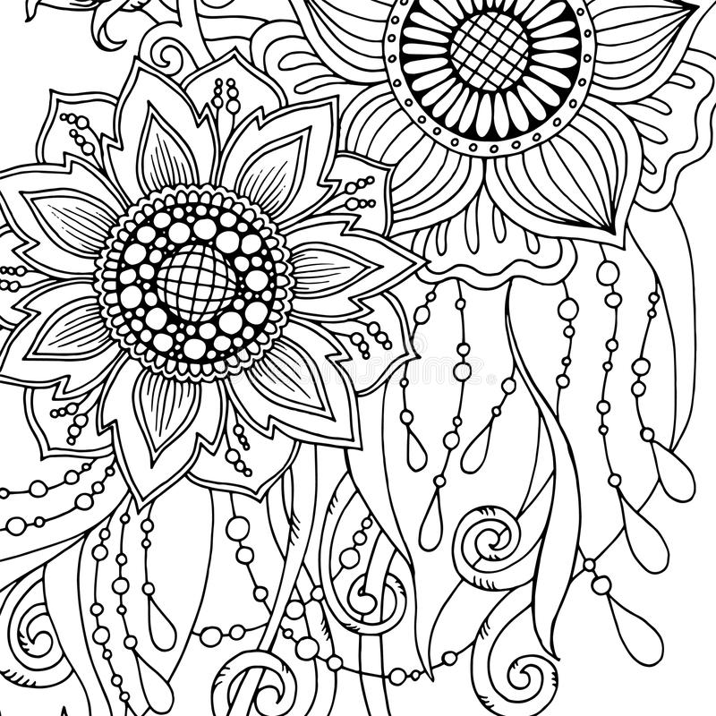 Download Greeting Card With Abstract Flowers Page For Adult Coloring Book Stock Vector