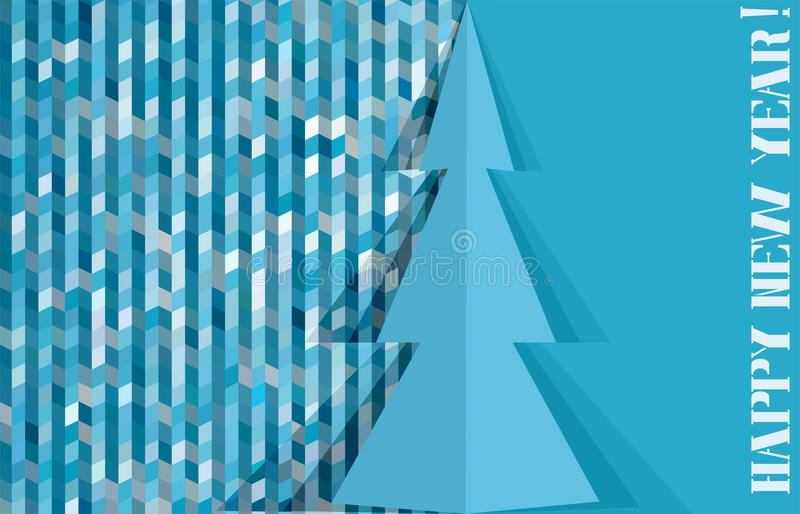 Greeting Card With Abstract Pine And Mosaic Background Stock Photography