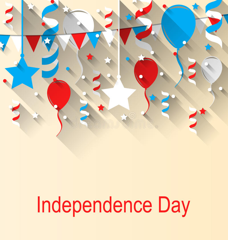 Greeting Card for American Independence Day, 4th of July, Colorful Bunting, Balloons and Confetti royalty free illustration