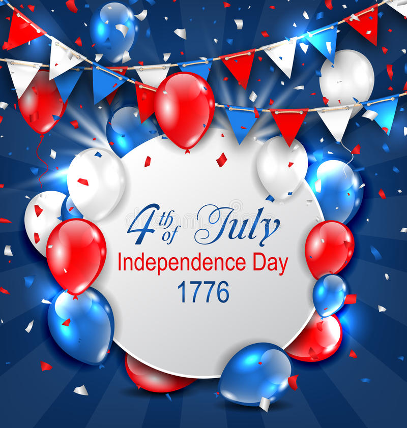 Greeting Card for American Independence Day, 4th of July, Colorful Bunting stock illustration