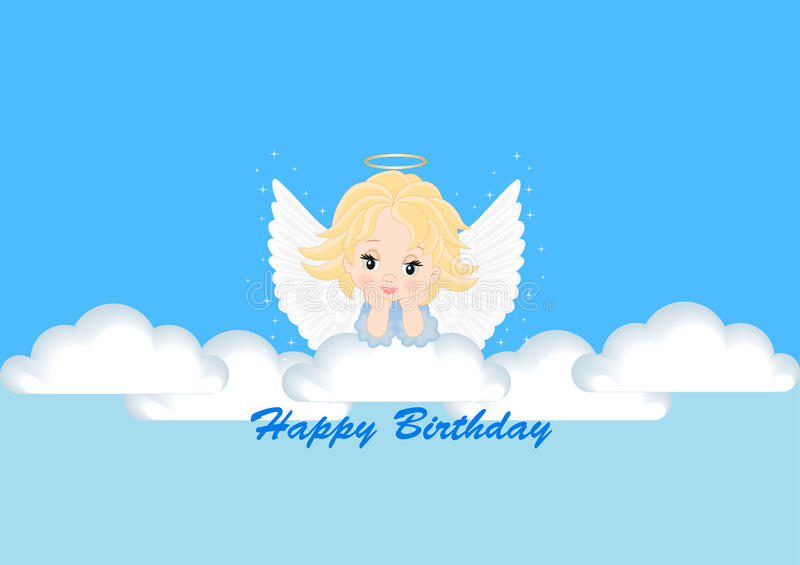 Greeting card with the angel stock illustration