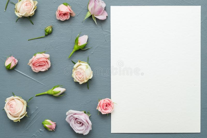 Greeting card assorted flowers grey background. Greeting card mockup. Congratulation concept. Assorted flowers on grey background. Flat lay stock photos