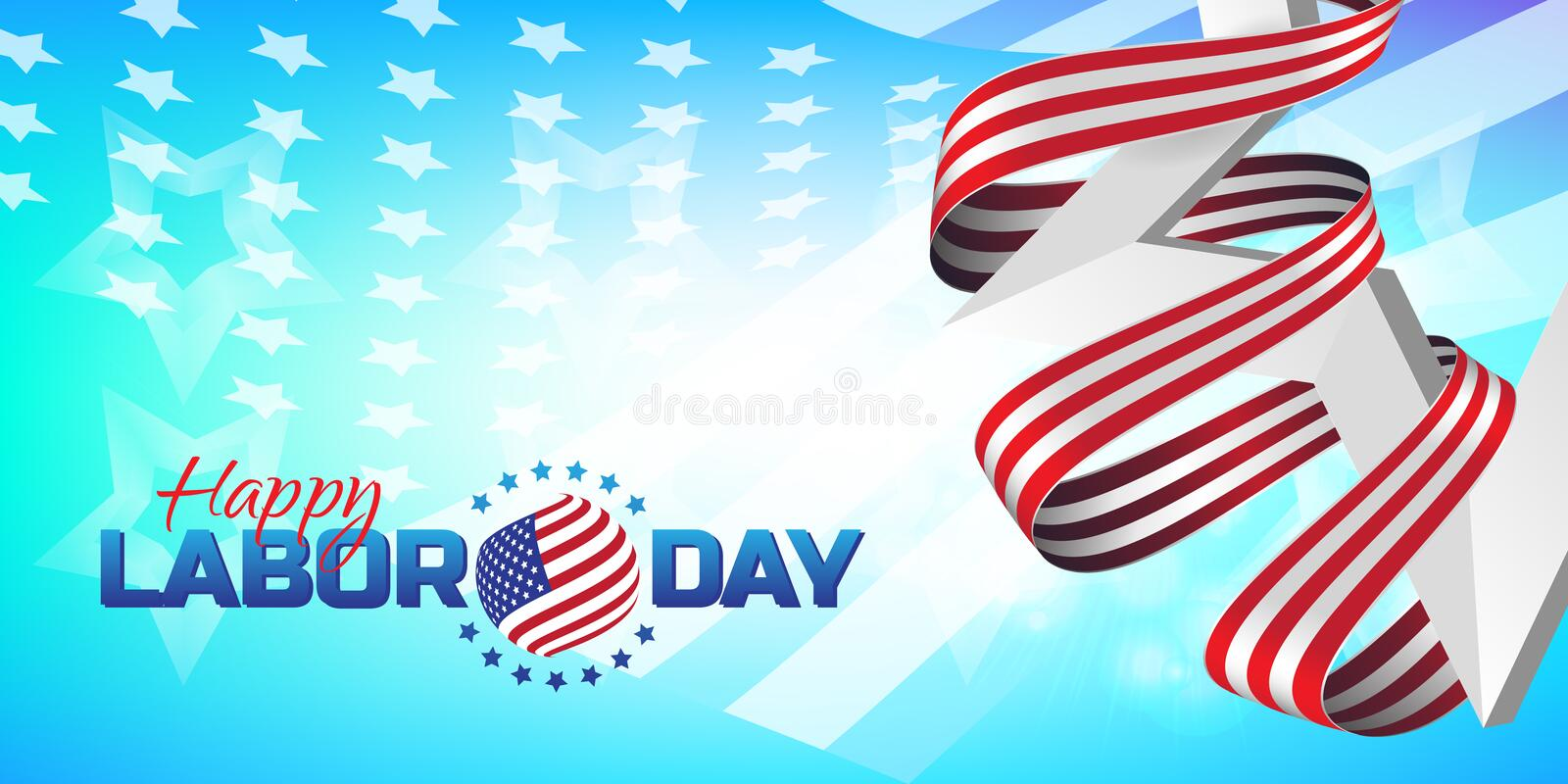 Greeting card or banner in horizontal orientation to Happy Labor Day with white star and striped ribbon vector illustration
