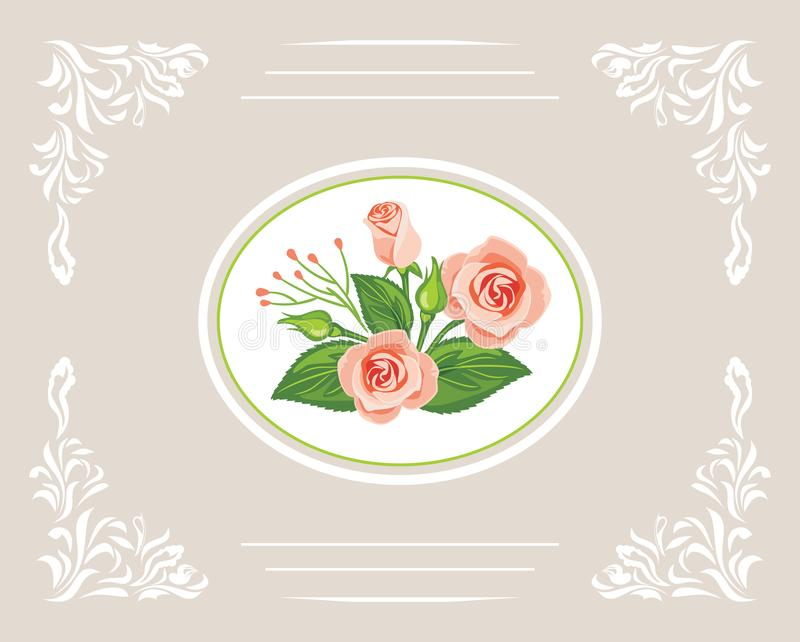 Greeting card with beautiful bouquet of pink roses royalty free stock image