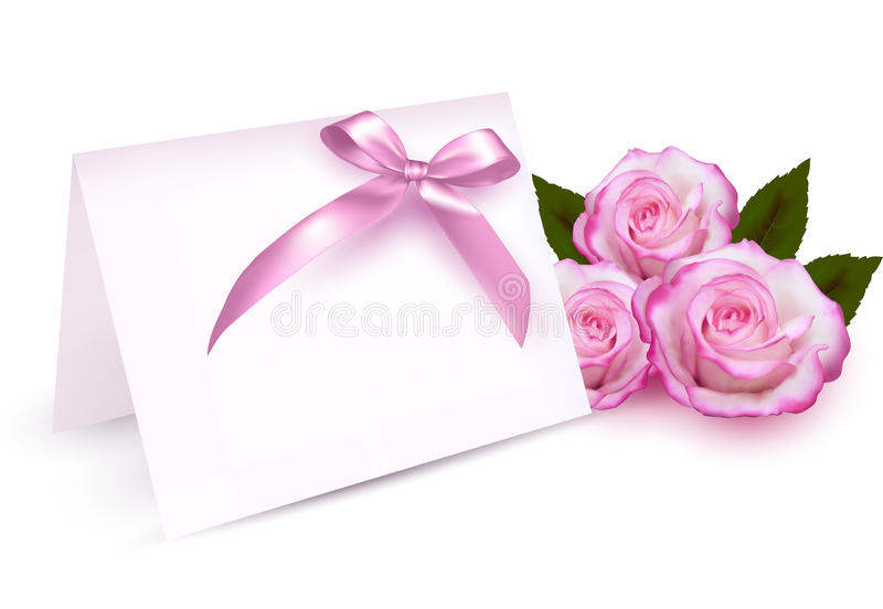 Greeting card with beauty roses and pink bow. royalty free illustration