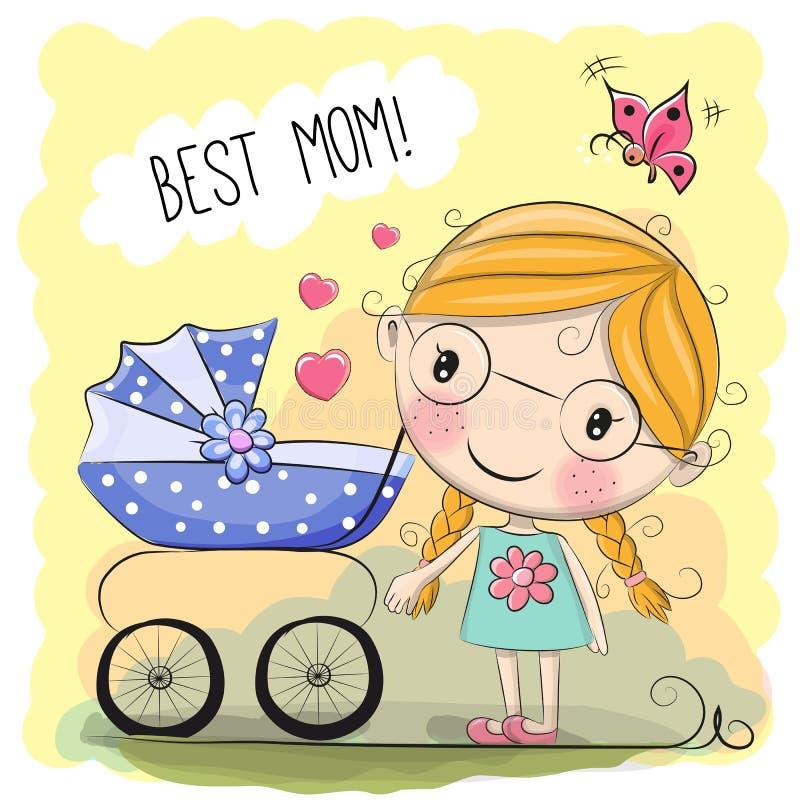 Greeting card Best mom vector illustration