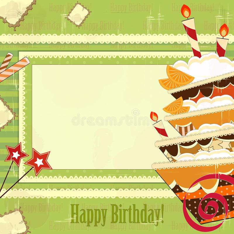 Download Greeting Card With Big Chocolate Cake Stock Vector - Image: 22096270
