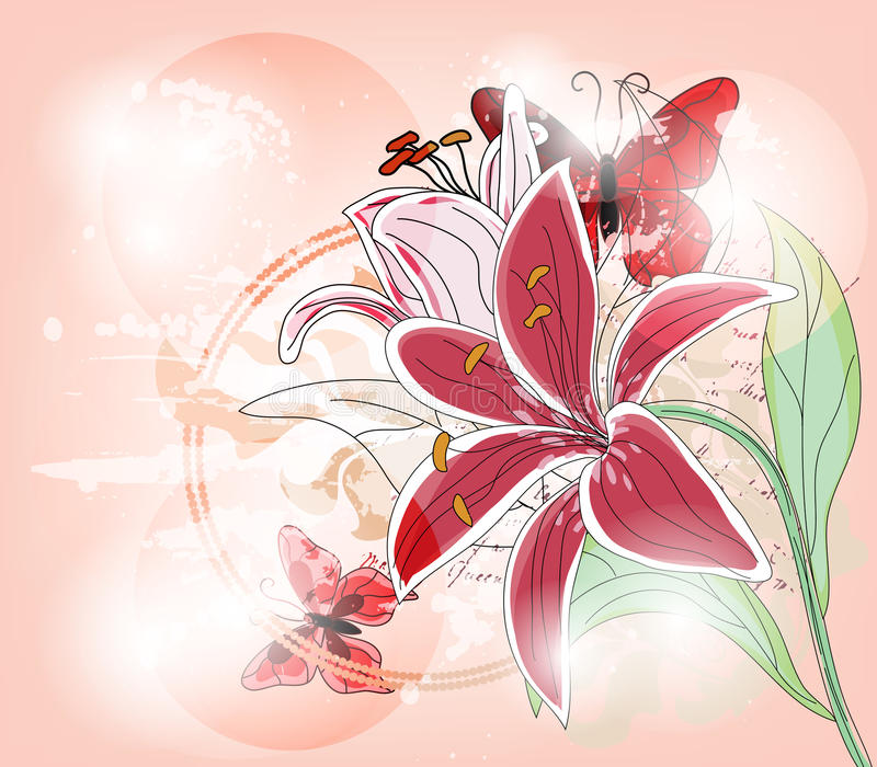 Greeting card with big lily and butterflies vector illustration