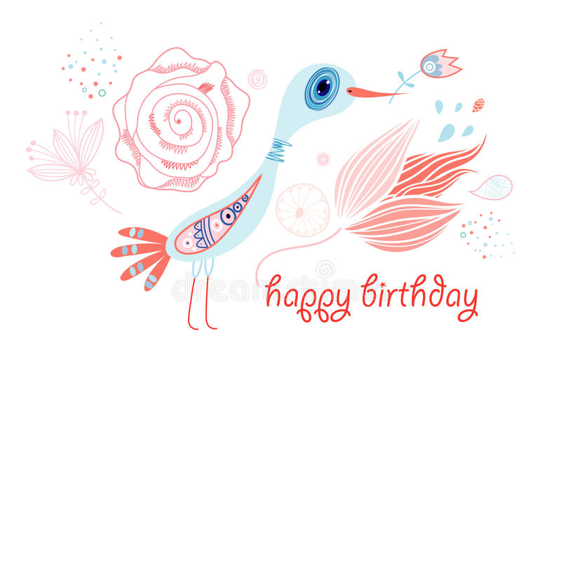 Greeting card with a bird royalty free illustration