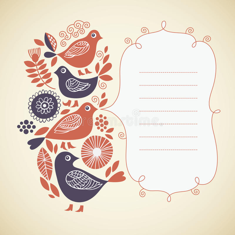 Download Greeting card with birds stock vector. Image of color - 26767529