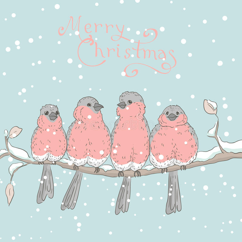 Greeting card with birds 1 royalty free illustration