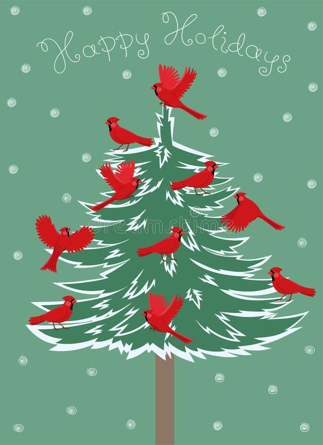 Greeting card with birds red cardinal sitting on the Christmas tree. Vector graphics royalty free illustration