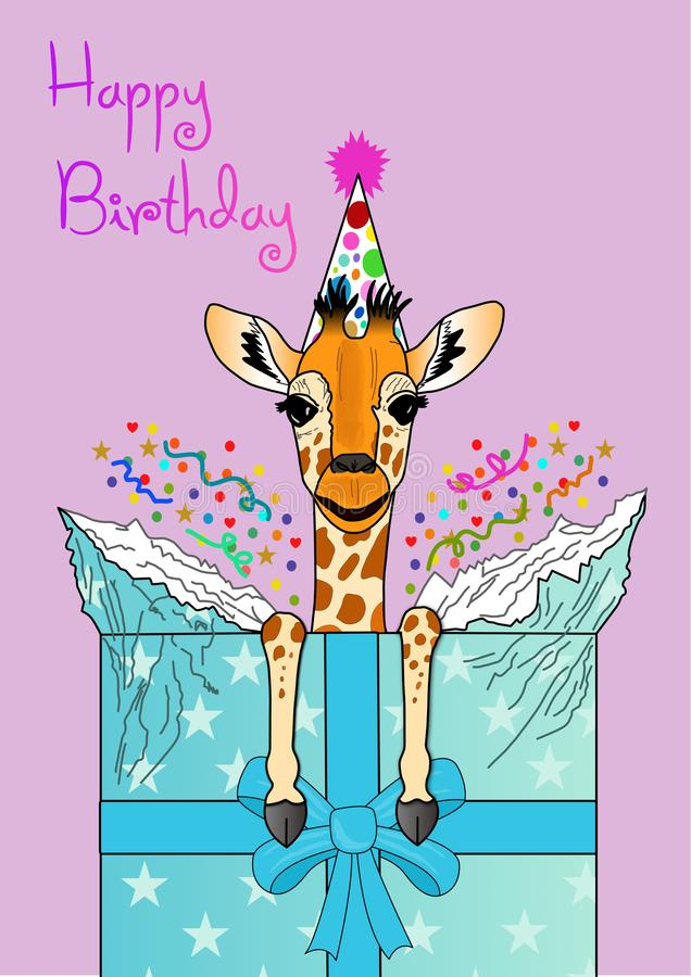 Greeting card birthday baby giraffe breaking out of present vector illustration