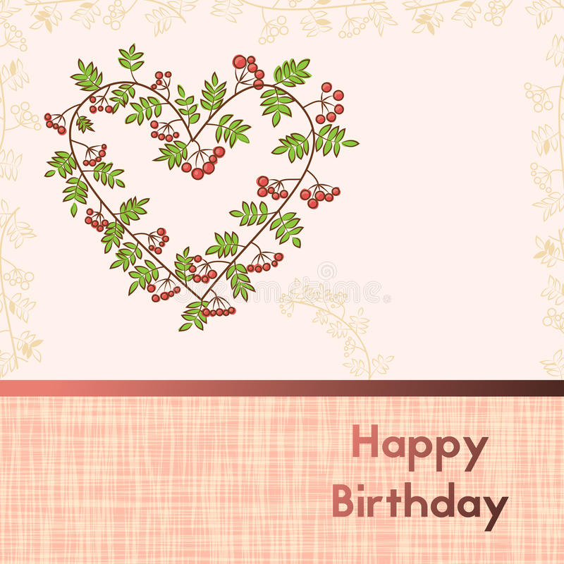 Greeting card for birthday with Rowan branches. Postcard in pink colors. Template celebration with berries. royalty free illustration