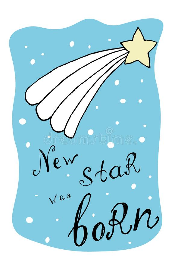 Blue greeting card for new born star at baby shower. Simple sketch vector illustration royalty free illustration