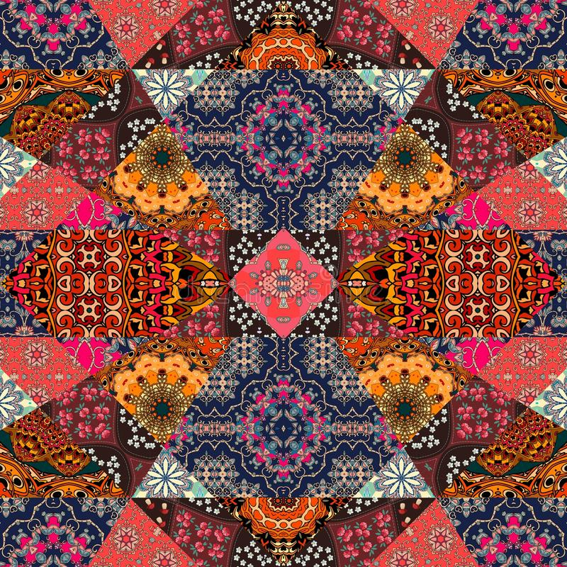 Greeting card in boho style. Beautiful patchwork pattern stock illustration