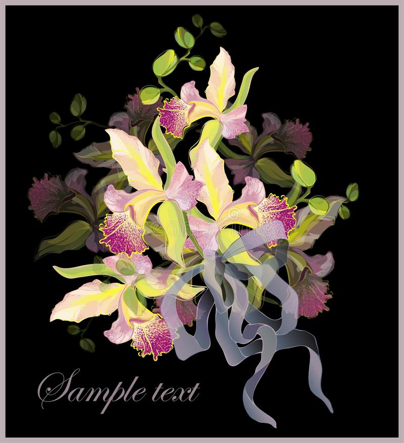 Download Greeting Card With A Bouquet Of Orchids. Stock Vector - Image: 17788716