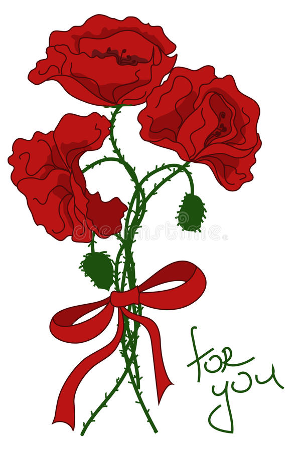 Download Greeting Card With Bouquet Of Poppy Flowers Stock Vector - Image: 32288806