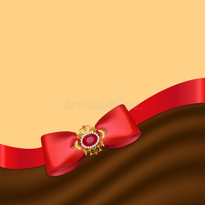 Greeting card with bow. Card with a red bow and a brooch stock illustration