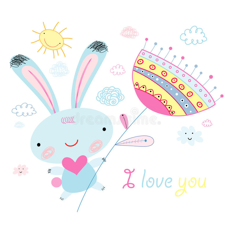 Greeting card with the bunny vector illustration