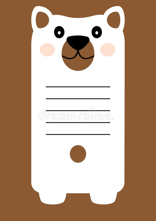 Greeting card with cartoon character bear, space for your text. Notes for children. Vector. Illustration vector illustration