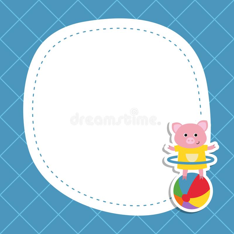 Greeting card with cartoon piglet. royalty free illustration
