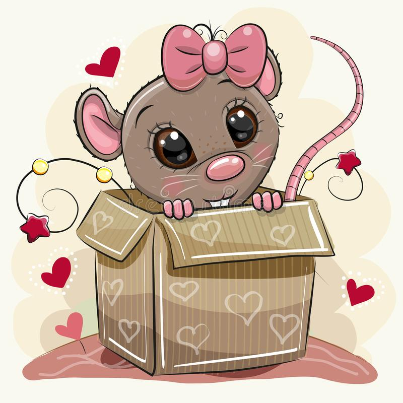 Greeting card with Cartoon Rat girl and a box royalty free illustration