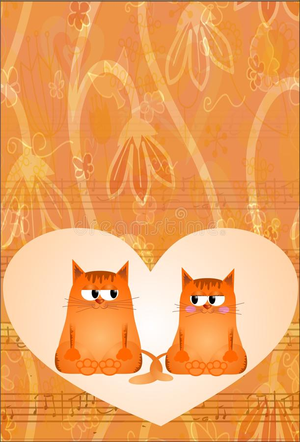 Greeting card with cats royalty free stock photo