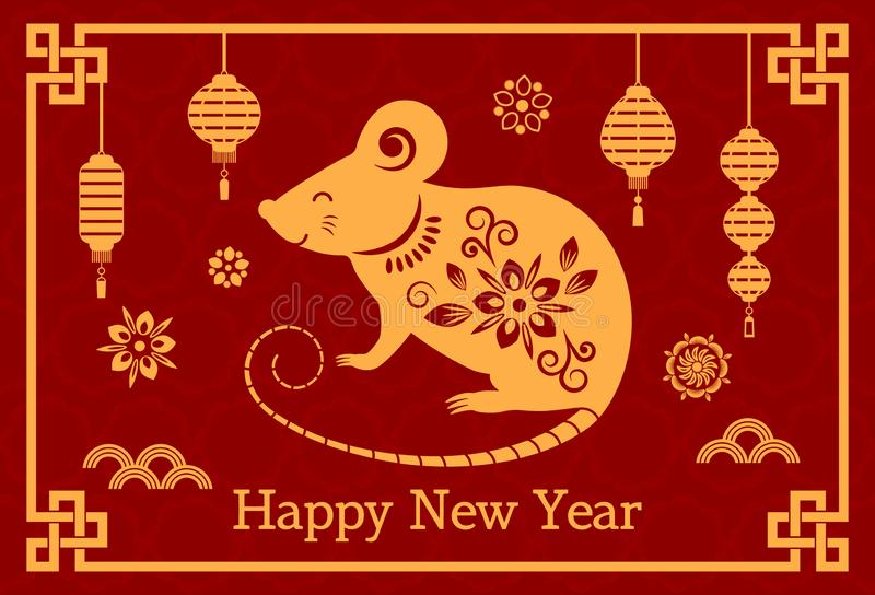 Greeting card with Chinese new year 2020 white rat on the astrological calendar. flat vector vector illustration