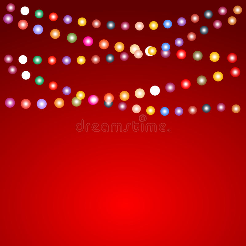 Greeting card for Christmas with a garland of colored light bulb royalty free illustration