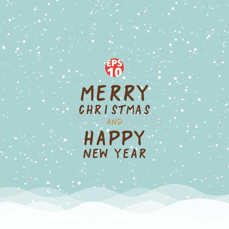Greeting card christmas and happy new year on blue background wi vector illustration