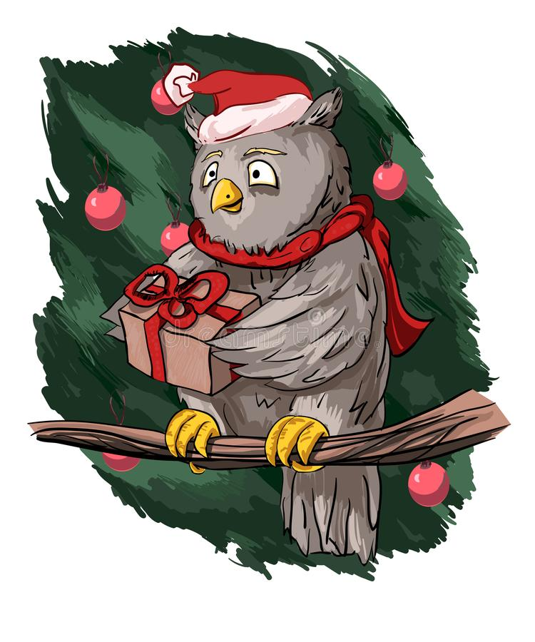 A nice sweet owl in a scarf and hat holds out a gift vector illustration